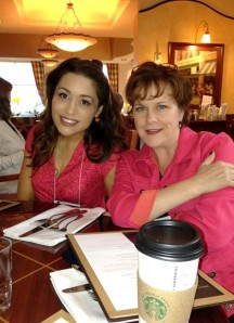 Tara Sheets and I, waiting for more caffeine.  And look, our outfits match.